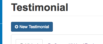 Click on 'New Testimonial' located at the top left of the page