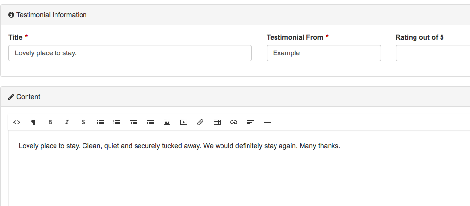 From here, you can update the Testimonials attributes